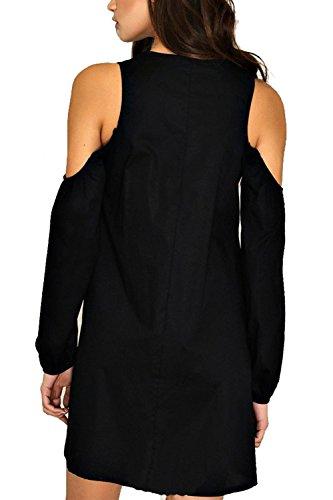 Le Donne Eleganti Freddezza / Collo Senza Spalline Manica Lunga Una Riga Tunica Camicie Razzo Vestito Black