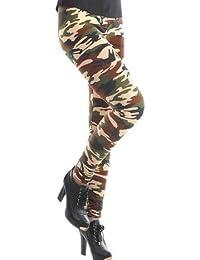 Housweety Sexy Damen Bunt Elastische Camouflage Leggings Leggins Hüfthose Hose (Bunt-E01946-DE)