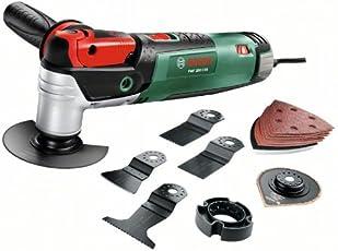 Bosch DIY Multifunktionswerkzeug PMF 250 CES Set, Säge- Schleifblatt-Set, Tiefenanschlag, Koffer (250 W, 15.000-20.000 min-1 Leerlaufdrehzahl)