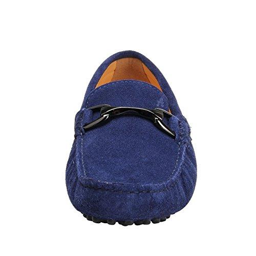 Shenduo Scarpe Uomo - Mocassini Uomo di Pelle Bucciata con Fibbia Metallica Loafers Scarpe Casual D7162 Blu scuro