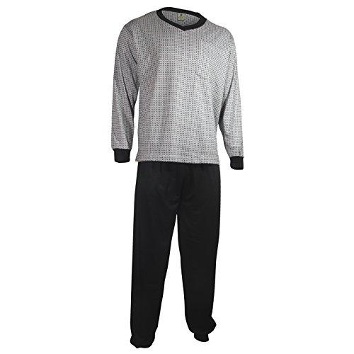 Herren Schlafanzug Pyjama Zweiteiler lang 2-tlg mit V-Ausschnitt in 3 Farben - Qualität von Lavazio®, Größe:2XL, Farbe:hellgrau