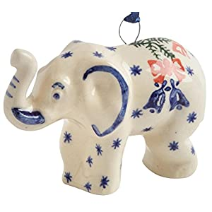 Polish Pottery White Elephant Handmade Ceramic Christmas Ornament Ceramic, Elephant