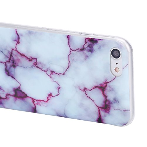 Coque Housse TPU pour Apple iPhone 7,SainCat Transparent Brillante Coque Silicone Etui Housse Brillante,iPhone 7 Silicone Case Soft Gel Cover Anti-Scratch Transparent Case TPU Cover,Fonction Support P marbre-Roche rouge pourpre
