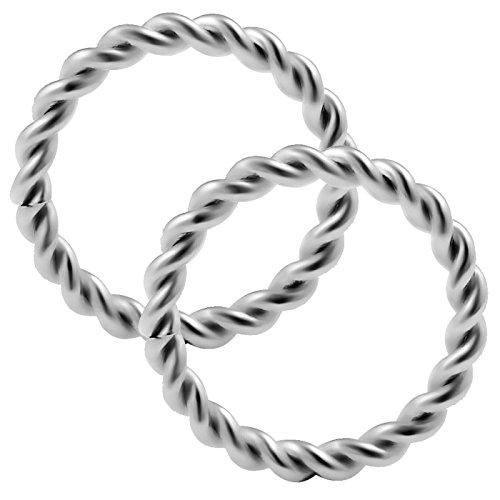 2 Stück Twisted-Kabel nasenpiercing ring 1.2mm chirurgenstahl Nasenring nose Nasen Hoop Nase Ring edelstahl A153 - 8mm