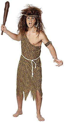 Einfach Kostüm Höhlenmensch - Smiffys, Herren Höhlenmensch Kostüm, Tunika, Haarband, Armband und Gürtel, Größe: L, 22451