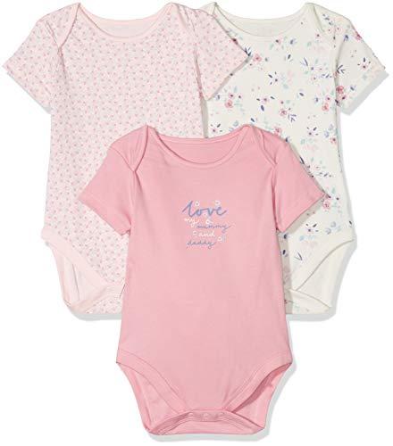 Mothercare Baby-Mädchen Formender Body Girls Mummy & Daddy 3 Pack Short Sleeve Bodysuit Pale Pink, Frühchen