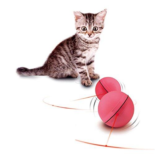 Creation® ABS Magie-LED-Licht-Blitz Rollen-Haustier-Kugel-Spielzeug - Elektronisches Spielzeug für Katzen und Welpen Hunde Trainings Verschieben Interactive (Rosa)