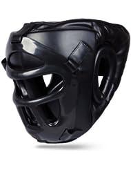 BooM Pro Cuero Protector De Cabeza Con Desprendible Elástico Máscara, Kick Boxing, MMA, UFC, Artes Marciales - Large / X-Large
