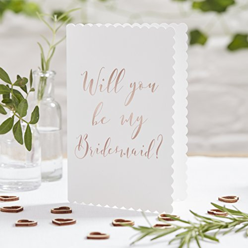 Ginger Ray Rose Gold Foiled Will You Be My Bridesmaid Cards x 5 Pack - Beautiful Botanics