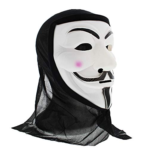 Fancy Fawkes Guy Kostüm Dress - Zac's Alter Ego® Anonymous Guy Fawkes Mask with Black Cloth to Cover Head