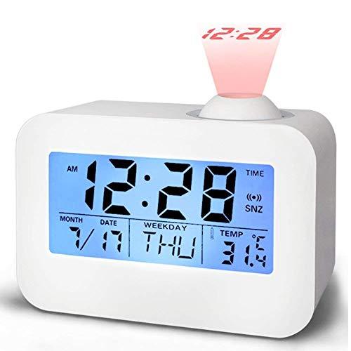 shsyue Projektions-Digitalwecker, Intelligente Digitale Projektionsuhr Sprachsteuerung Bedside Desk Projektionswecker mit LED-Hintergrundbeleuchtung Kalendertemperatur-Schlummerfunktion