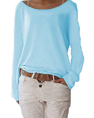 Damen Pulli Langarm T-Shirt Rundhals Ausschnitt Lose Bluse Hemd Pullover Oversize Sweatshirt Oberteil Tops Cyan S