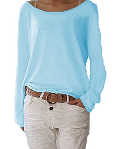 ZIOOER Damen Langarm T-Shirt Rundhals Ausschnitt Lose Bluse Langarmshirts Hemd Pullover Sweatshirt Oberteil Tops Shirts C Cyan M (C C Shirts)