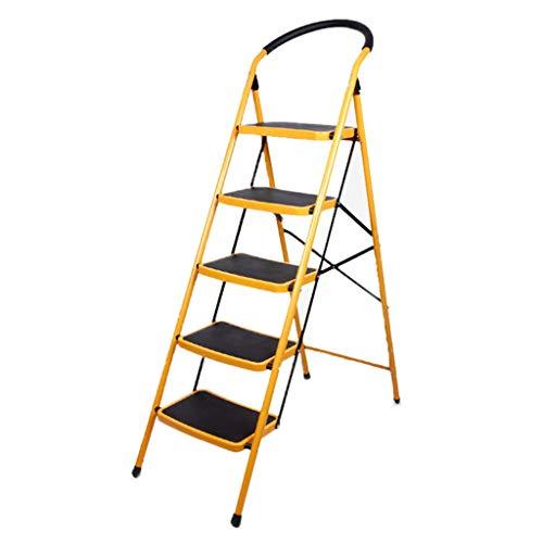 KJZ Escalera de cinco peldaños, Escalera plegable de barandilla de metal de alta calidad para exteriores Escalera multifunción de tamaño 49 * 103 * 151.5CM