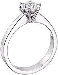 Diamond Engagement Ring in 14K Gold / White - GIA Certified, Round, 0.80 Carat, E Color, SI1 Clarity