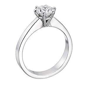 Diamant Ring 0.50 Ct W G/SI1 Round 18 Karat (750) Weißgold (Ringgröße 48-63)