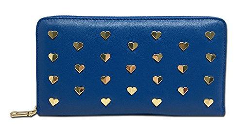 Xinmaoyuan Portafogli donna in vera pelle borsa a mano lungo la sezione Portafogli donna cuore Zipper Bag,Nero Blue