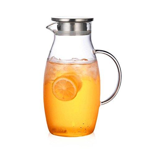 waterfaill 1.8 Liter Glaskaraffe Borosilikat Glaskaraffe Eistee Krug mit Edelstahl Deckel Karaffe Glaskanne, Heißes Kaltes Wasser Eistee Wein Kaffee Milch und Saft Getränkekaraffe (Wasser-filter Glas-krug)