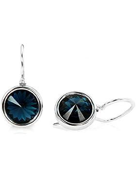 Crystals & Stones HAKEN *RIVOLI* 8 mm Farbe *Montana* Schön Ohrringe Damen Ohrhänger mit Kristallen von Swarovski...