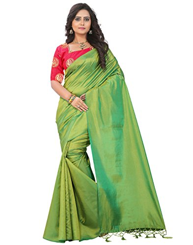 e-VASTRAM Womens Plain Soft silk Tassel Saree With Unstitched Embroidered Contrast Blouse(SANAG_Green)
