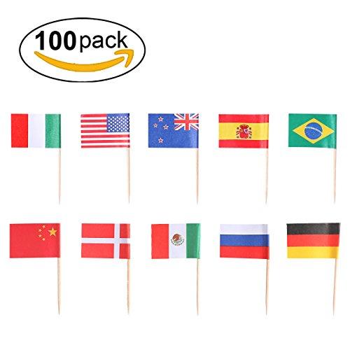bocktail Sticks Bambus, lanmu Flagge Cocktail Sticks, Einweg Holz Cocktail Sticks Party Rüschen Zahnstocher für Obst Gabeln, Sandwich, Obst, Käse, Aperitif, Cocktail Picks (zufällige 100Zählen)