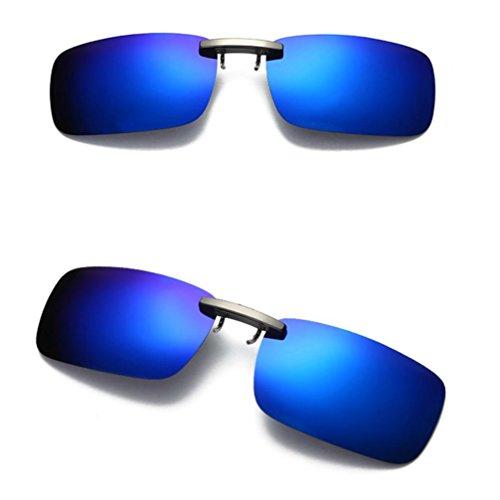 Holeider 2018 neue Sonnenbrille Unisex, abnehmbare Nachtsichtlinse Driving Metall polarisierte Clip auf Gläsern klassische Sonnenbrille (Blau)