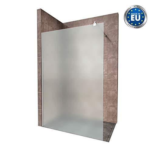 Duschabtrennung Duschwand Walk In Dusche 10mm STARK aus SATINIERTEM ESG Sicherheitsglas mit Edelstahl Wandprofilen #740 (100 x 200cm, Satiniertes Glas)