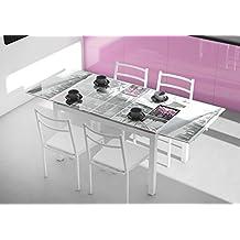 Mesa de cocina extensible de cristal con serigrafía Nueva York 110-170x70cm