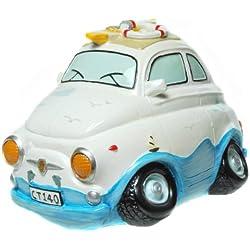 Hucha, diseño de coche que va a la playa, color blanco