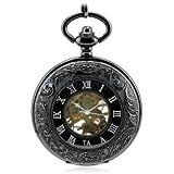 Alcoa Prime Mens Antique Design Mechanical Pocket Watch Chain Open Face Necklace Punk
