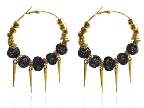Spike Mesh (Trendige Big Kreolen gold Spikes und schwarz Mesh Kugeln Strass Ohrringe E422)