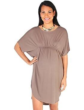[Sponsorizzato]KRISP Premaman Donna Top Vestito Elastico Vita Manica Corta Vestibilità Lunga T Shirt Tunica