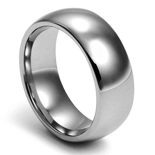 Gnzoe Schmuck, Wolfram Ringe Klassik 8mm Gr.54(17.2) Hell Grau Trauringe Heiratsantrag Band Für Herren