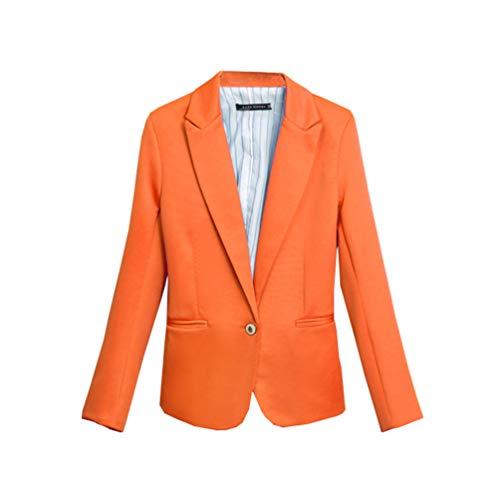 YuanDian Damen Blazer Jacke Große Größe Slim Fit Einfarbig Casual Business Herbst Langen Ärmeln Revers Frauen Festlich Sakko Futter Blazer Anzüge Jacken Orange M