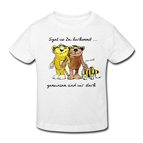 Spreadshirt Janosch Bär Tigerente Tiger Gemeinsam Stark Kinder Bio-T-Shirt, 110/116 (5-6 Jahre), Weiß (T-shirt Freiheit Kinder Die)
