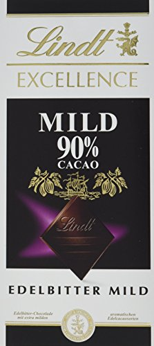 Lindt & Sprüngli Excellence Mild 90 {c8be5e27e47098e990a1cacaf992ed71aaa7e72f5730a33750bc8c5405c70b21}, 5er Pack (5x 100 g)
