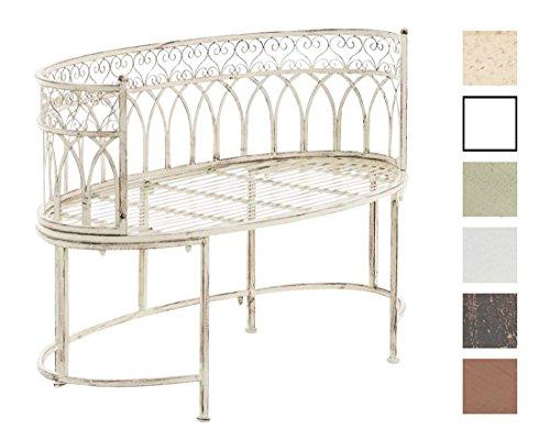 CLP Metall-Gartenbank AMANTI mit Armlehne, Landhaus-Stil, Eisen lackiert, Design antik nostalgisch, Form oval ca. 110 x 55 cm Antik Creme