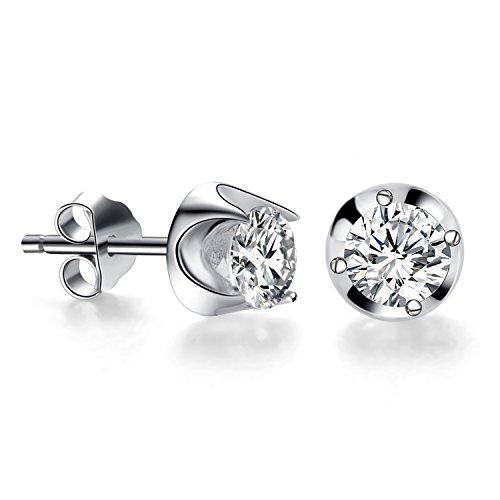 BlingGem Blüten-Tulpe Ohrringe 925 Sterling Silber Schmetterling Zucht Ohrringe Gemacht mit 5A kubischen Zirconia (Tulip Kostüme)