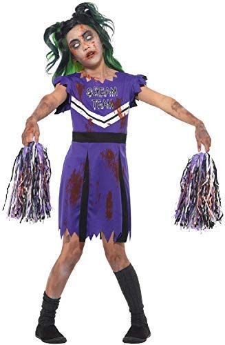 Fancy Me Mädchen Zombie Scream Leader Cheerleader mit Pom-Poms Sport Halloween Horror Kostüm Kleid Outfit - Lila, 4-6 (Scream 4 Kostüm)