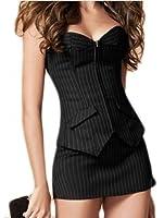 Dissa® travail uniforme Corset à rayures avec la robe, noire