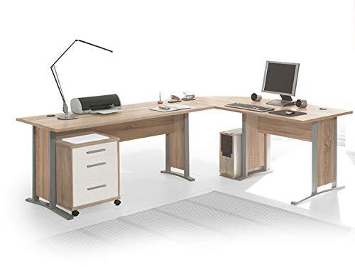 moebel-eins Office Line Winkelkombination Schreibtisch Ecktisch Tisch Bürotisch in Eiche Sonoma Dekor/weiss