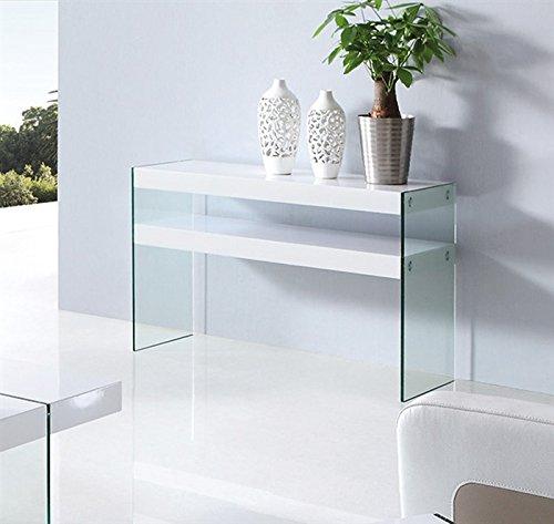 Hogar Decora Konsole Glas weiß lackiert 120x 40cm, Classics