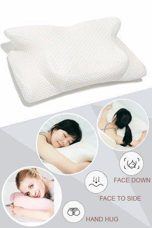 Hankey Orthopädisches Nackenstützkissen mit atmungsaktivem Bezug für Rücken, Seiten- und Bauchschläfer, ergonomisches und hypoallergenes Kopfkissen für Schlaflosigkeit, Nacken- und Schulterschmerzen (Memory-foam-kingsize-kissen)