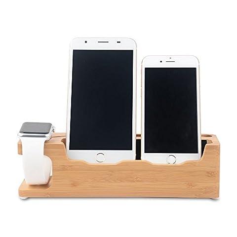 Support Apple Watch, WOWO Station D'accueil en Bambou Support de Recharge iWatch Dock pour Apple Watch iWatch 42mm 38mm et iPhone 7 7 Plus 6 6S Plus SE 5 5S 5C