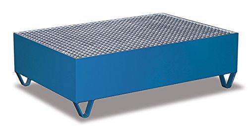 Auffangwanne mit Gitterrost für 2 Fässer a 200 l Traglast (kg): 500 Ladefläche: 1190 x 790 mm RAL 5010 Enzianblau