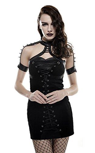 Robe courte moulante noire à laçage et pics Gothique Punk Rave Noir