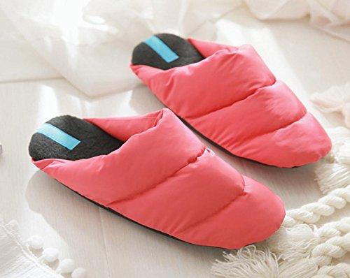 Mhgao da donna casual pantofole in lana caldo piumino in autunno e inverno pantofole in lana Red