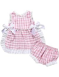 5bbda1ebf Ropa Bebé Niña Verano 2Pcs Chaleco de sin Manga Celosía Doble  Arco+Pantalones Cortos Trajes para Bebés Niños 0-24…