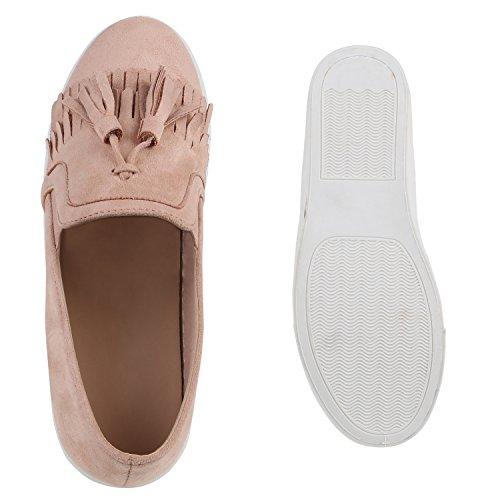 Damen Sneakers Slip-ons Lack Glitzer Metallic Slipper Schuhe Rosa Velours Fransen