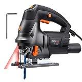 Stichsäge, Tacklife 800W Stichsägen mit Laserführung, Doppel Fasenschneiden(0-45°), 800-3000RPM 6 verstellbare Geschwindigkeiten, 3M Kabel, Schnitttiefe: Holz-100mm/Metall-10mm PJS04A